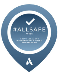 Hashtag. Allsafe Accor. Logo. Above local and international hygiene requirements.